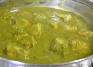 Creamy dhania textured sauce with a different colour